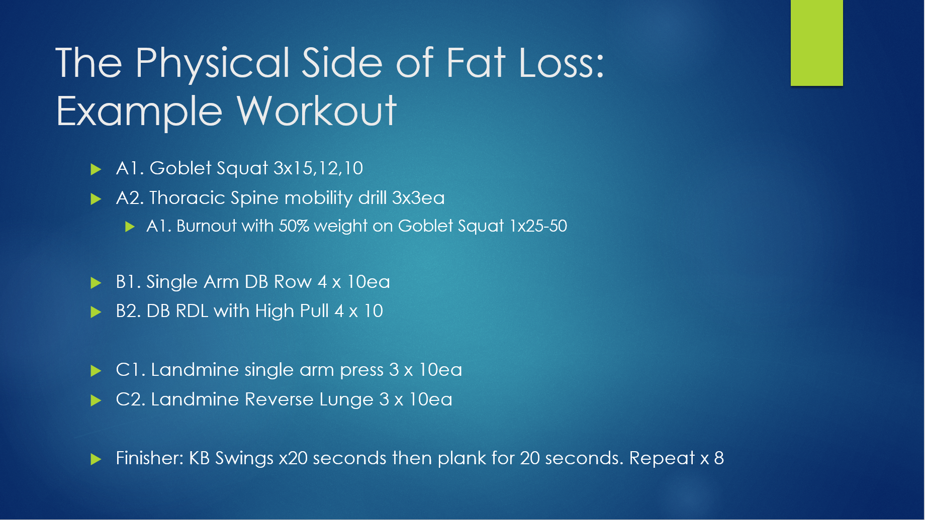 fat loss workout slide